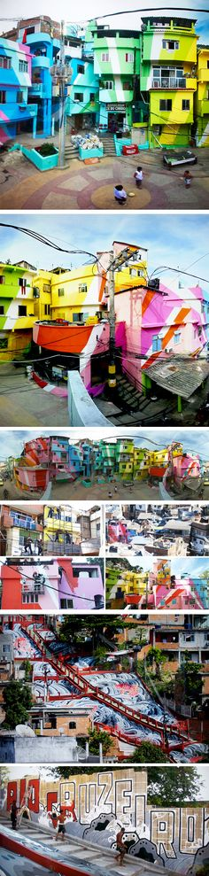The Favela Painting Project has embarked on one of the largest public art projects Brazil in order to bring new life to its poorest neighborhoods. Jeroen Koolhaas and Dre Urhahn of Hass headed up the project which undertook the painting of an entire neighborhood from ground to sky in bright rainbow-colored art. This project is not the first of its kind in Brazil, but it is one of the largest.