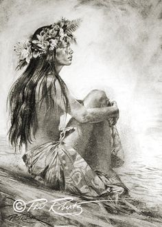 "Hula Girl Fine Art ""Tahitian Daydream"" Island Collection by Phil Roberts by BeachesAndCoconuts on Etsy Hawaiian Girl Tattoos, Hula Girl Tattoos, Hawaiian Girls, Hawaiian Dancers, Hawaiian Art, Hawaiian Tribal, Hawaiian Legends, Hawaiian Princess, Dancer Drawing"