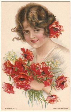 postcard lady with bouquet of poppies
