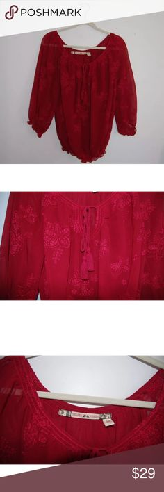 Chelsea and violet Anthropologie Burgundy Boho top The blouse is lined and in excellent  condition. Features Tassel. The sleeves and waist are scrunchy. Shoulder to hem: 24 inches. Underarm to underarm: 22 Inches. Sleeve Length: 20 Inches. Anthropologie Tops Blouses