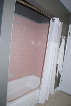 Pink Tile Shower   I Have This Same Shower Curtain!! :)