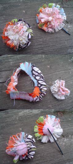 Tutorial zum Blumen selbst machen. Die passenden Broschennadel-Rohlinge gibt es hier:  http://www.lindobu.com/zubehoer/broschen-nadeln.html
