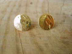 Beaten Gold Studs Earrings 29 Semi Formal Attire Hammered Sweet