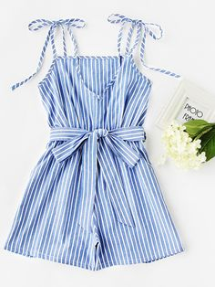 Shop Vertical Striped Tie-Strap Romper With Belt online. SheIn offers Vertical Striped Tie-Strap Romper With Belt & more to fit your fashionable needs. Teen Fashion Outfits, Teenage Outfits, Trendy Outfits, Mode Pop, Look Girl, Jumpsuit With Sleeves, Long Sleeve Romper, Cute Summer Outfits, Playsuits