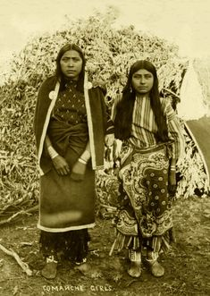 Comanche girls. Photographed Oklahoma; Indian Territory ca. 1880-1889. Part of Indians of the Oklahoma Territory.