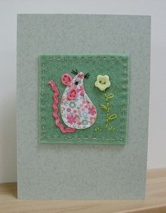 Little Mouse Blank Card Fabric Cards, Fabric Postcards, Paper Cards, Diy Cards, Applique Templates, Applique Patterns, Owl Templates, Felt Patterns, Free Motion Embroidery