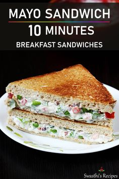 Mayo sandwich made with salad veggies, mayonnaise, herbs and chili flakes. Amazingly delicious and super easy to make! Bread Sandwich Recipe Indian, Best Sandwich Recipes, Hot Dog Recipes, Carrot Recipes, Corn Recipes, Lunch Box Recipes, Spicy Recipes, Breakfast Recipes, Cooking Recipes