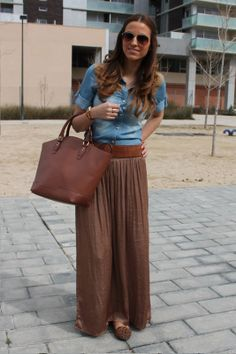 Falda larga. Look casual