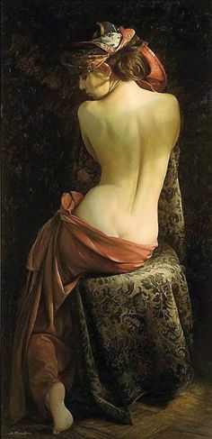Beautiful colors, wet drapery. Like the way the scarf and hip-wrap twine around her, making the S-curve more exaggerated. (Artist: Serge Marshennikov (Russian, b.1971), oil on canvas {figurative realism art discreet semi-nude female seated woman posterior back painting #loveart}: http://buff.ly/24Ie9TQ)