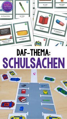 """Wortkarten für den DaF-Unterricht und passende Artikelübung zum Wortfeld """"Schulsachen"""". Tolle für Grundschule, Willkommensklasse und DaF mit Kindern."""