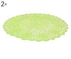 Set di 2 sottopiatti in tessuto verde Pizzi, d 34 cm