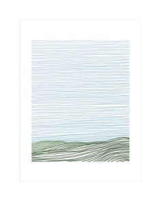 """""""Stripe Landscape: Green Hills"""" - Art Print by Jorey Hurley in beautiful frame options and a variety of sizes."""