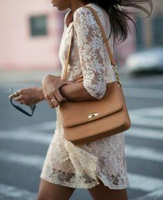 bag, camel, cute, dress, fashion