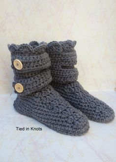 Crochet Slipper Boots - Women's Crochet Slippers - Crochet Slipper Booties - Crochet House Shoes - Ladies Slippers - Knitted Slipper Boots - pinned by pin4etsy.com
