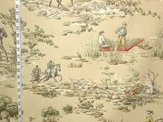 Horse riding fabric equestrian tan toile fishing from Brick House Fabric: Novelty Fabric