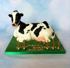 It seems one animal cake leads to another! This cake was for a birthday and I presume for a dairy farmer. Chocolate biscuit cake again, great for sculpted cake. Chocolate Cow, Chocolate Biscuit Cake, Cow Cakes, Daisy Cakes, Animal Cakes, Novelty Cakes, Awesome Cakes, Creative Cakes, Themed Cakes