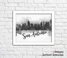 Printable San Antonio Poster San Antonio Skyline by eDesignss