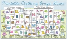 Clothing Bingo Printable Game | Peonies and Poppyseeds could be used to practice signs for these clothing items