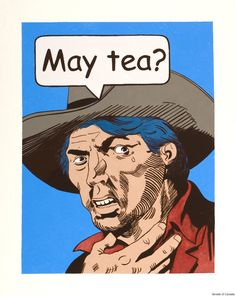"""David Garneau (Métis): """"May Tea?""""—as though it were a question, depriving it of its meaning, and holding a hand to his neck in a reference to the hanging of Louis Riel."""