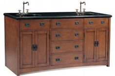 72 Inch Mission Style Double Sink Vanity with Black Granite