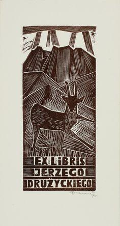 Ex Libris of Jerzy Druzrycki ~ made by Jerzy Druzrycki ~ Poland ~ Linocut technique ~ Abstract , Fauna , Scenery/Landscape ~ date unknown