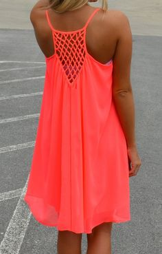 Spaghetti Strap Hollow Shift Neon Coral Dress