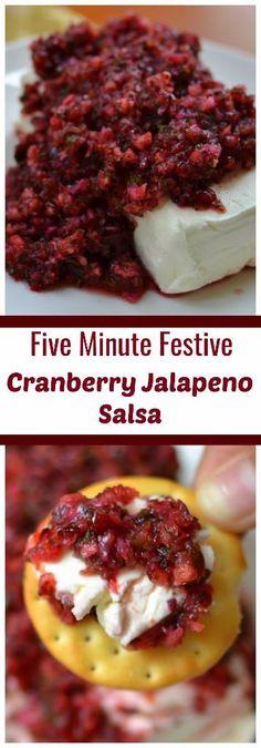 Easy Five Minute Festive Cranberry Jalapeno Salsa