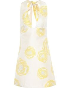 Turenne yellow floral-jacquard minidress by Ganni