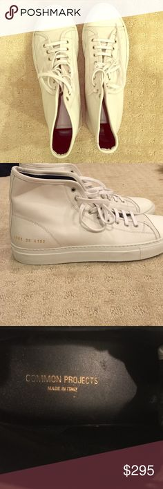 Brand new white leather common projects size 39 These brand new (only worn once in the store) white leather common projects are in perfect condition. They are a size 39. Too big for me unfortunately! Common Projects Shoes