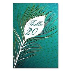 Wedding table number cards - peacock feathers table cards