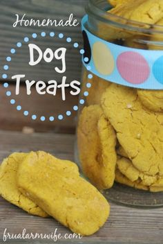 Easy homemade dog treats recipe for making dog biscuits with a pumpkin or sweet potato base. Our dog goes crazy for these!