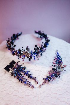 Bridal gift set- Wedding headpiece-Bridal earrings- Bridal bracelet-Flower hair vine- Crystal Earrings for prom- Christmas Violet headband Very beautiful and romantic goftset! To create this pieces used top quality materials! Jewelry silver plated wire, Swarovski crystal and