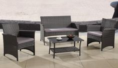 4 Piece Grey Garden Furniture Set | Wicker Sofa Set