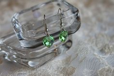 Heart earrings. Green Apple. Green.  Wedding. Silver by Ribas NEW ITEMS IN THE SHOP!