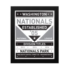 "Washington Nationals 15"" x 18"" Framed Modern Team Print - Black/White"