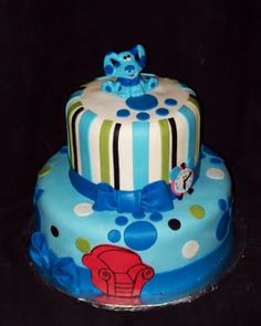 Blues Clues cake...need to start practicing now for the boys' birthday cakes.