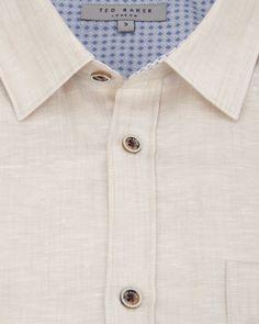 Roll sleeve linen mix shirt - Beige | Shirts | Ted Baker