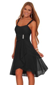 Make your night unforgettable! Our sweet Hot from Hollywood dress is perfect for any school dance or any formal event! Sleeveless lightly padded sequins bust adds some sparkle while sheer ga...