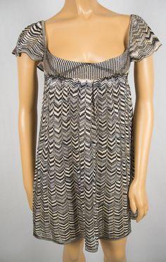 BEBE Multi Color Knit Dress S Cap Sleeves Criss Cross Back Summer Gold Metallic