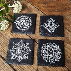 Mandala black and white plates design artwork