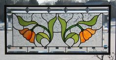Beveled English tulip stained glass panel window orange stained glass window…