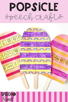 Popsicle Crafts for speech therapy! These crafts are perfect for summer spring or whenever you want a fun treat in speech-language therapy! This craft can be used to address articulation apraxia phonology language and fluency (stuttering). Preschool Speech Therapy, Articulation Therapy, Articulation Activities, Speech Activities, Speech Language Pathology, Speech Therapy Activities, Speech And Language, Preschool Songs, Pop Sicle