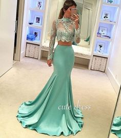 Lace Evening Dresses Two Pieces Prom Dresses Long Prom Dresses Green Evening Dresses Prom Dresses Mermaid Prom Dresses Long Evening Dresses With Sleeves, Mermaid Evening Dresses, Sexy Dresses, Evening Gowns, Party Dresses, Evening Party, Cheap Dresses, Dresses 2016, Mermaid Style Dresses