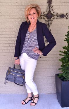 50 Is Not Old | Classic Look | White Pants + Navy Blazer | Stripes | Fashion over 40 for the everyday woman
