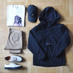 Outfitgrid - HUF jacket & cap / Carhartt WIP x P.A.M tee / Carhartt WIP pants / Vans x Our Legacy shoes