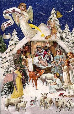 Nativity scene Christmas card from Germany