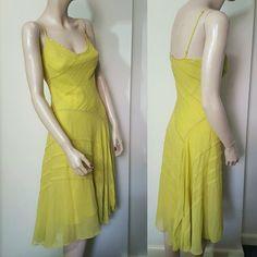 BCBG Max Azria Chartreuse Gold Yellow Silk Beaded 20s Slip Dress Gatsby Size 4 8