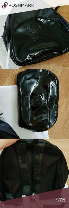 Versace black backpack Versace black backpack with matching cosmetic bag. Never used still with original wrapping and dust bag. Versace Bags Backpacks