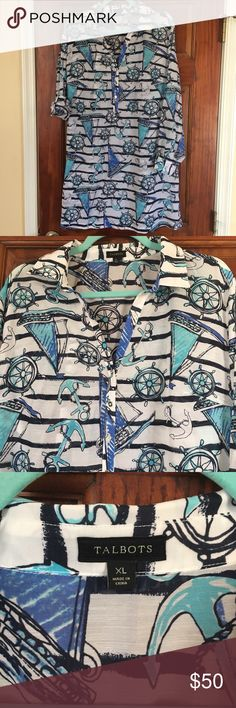 👙 NWOT Cover-up-TALBOTS Beautiful, NWOT bathing suit cover up. Never worn, tag with button is still inside (see pics). White, colored, sleeves can be rolled. Half buttoned at the top with tiny silver buttons. Sailboat pattern. Talbots Swim Coverups