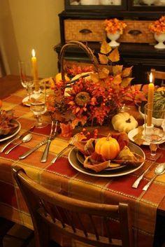 Décoration de table d'automne